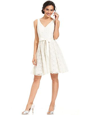 937cf07a211 Marina Sleeveless Belted Lace A-Line Dress - Dresses - Women - Macy s