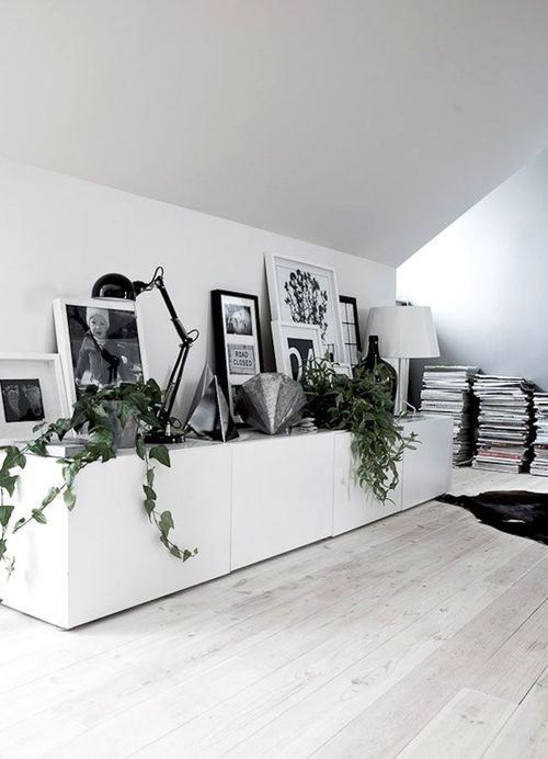 black, white, and greenery A R T Diversity of forms Pinterest