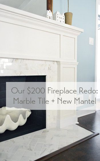 Our 200 Fireplace Makeover Marble Tile A New Mantel Marble Tiles Mantels And Herringbone