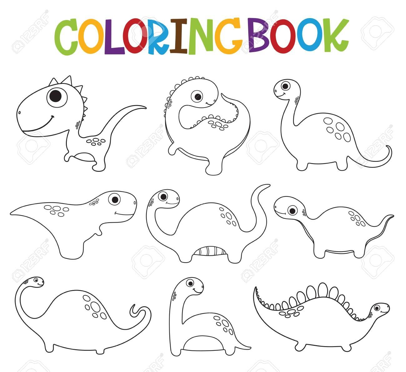 Funny Cartoon Dinosaurs Collection Coloring Book Vector Illustration Ad Dinosaurs Collection Funny Cartoon Vector