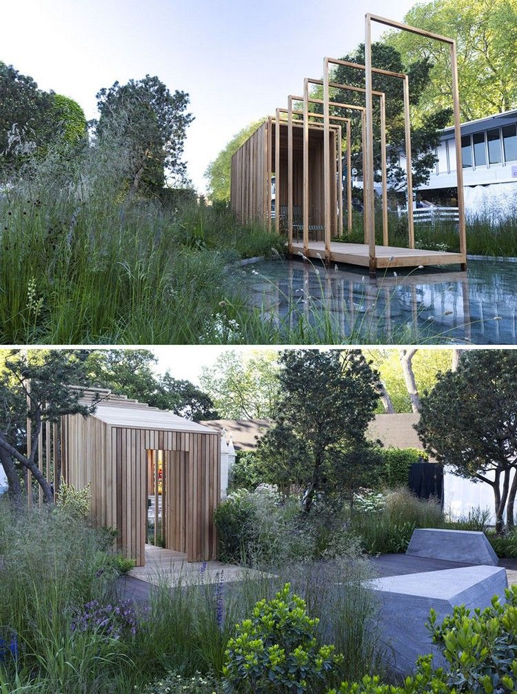 jardin design - abri de jardin en bois massif, bassin aquatique et ...