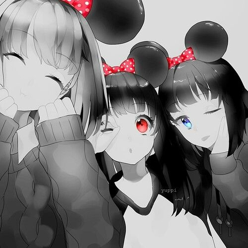 Anime Girls Black And White Mouse Girls Blue Eyes Red