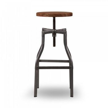 Turner Swivel Industrial Stool Raw Gunmetal 62cm Industrial