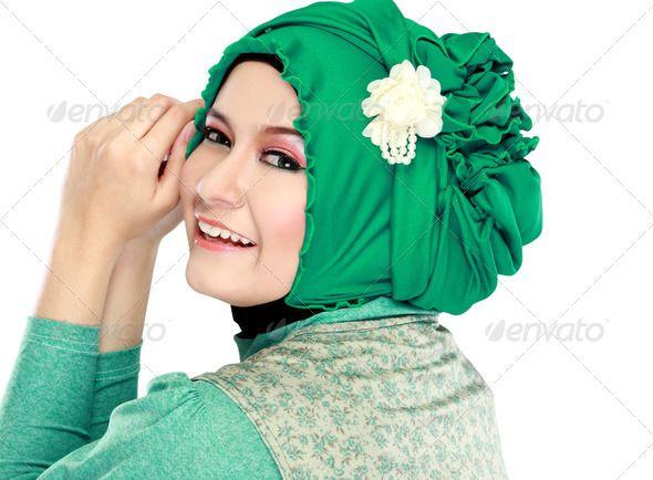 Young Beautiful Muslim Woman With Green Costume Wearing Hijab Stock Photo Beautiful Muslim Women Green Costumes Young And Beautiful