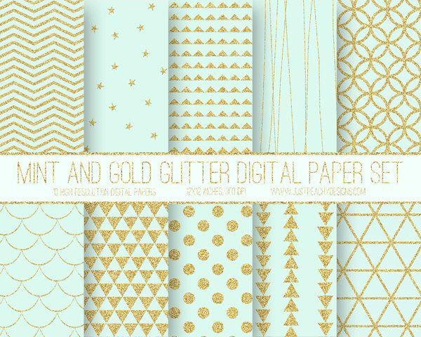 Modern Digital Paper, Mint and Glitter Gold, Geometric Pattern, Geometric Digital Background, Scrapbook Paper, Printable Paper, Web Design by JustPeachyDigitals on Etsy https://www.etsy.com/listing/253202894/modern-digital-paper-mint-and-glitter