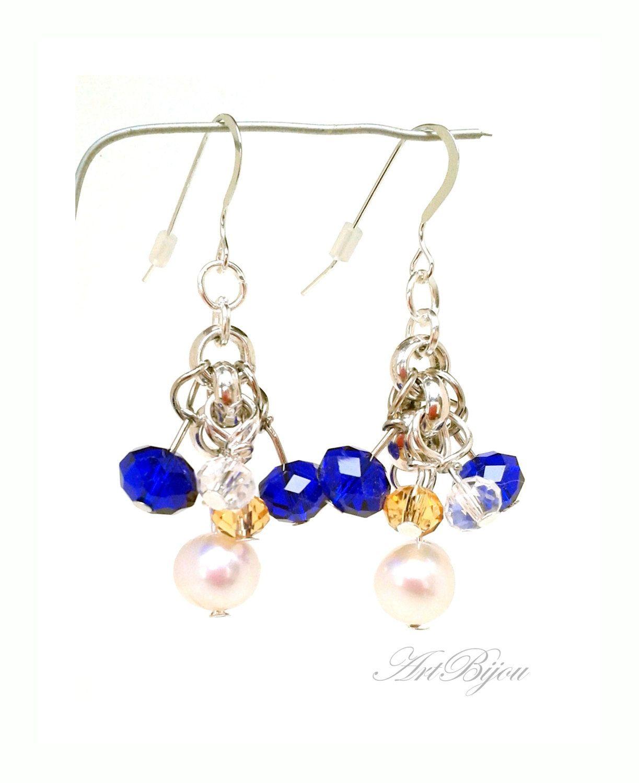 Silver Earrings, Crystal Earrings, Pearl Earrings, Dangle Earrings, Blue Earrings, Gold, Elegant, Women Gift, Gift Her, Gift Idea, Present