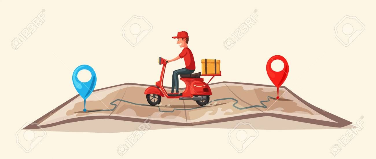 Fast and free delivery by scooter vector cartoon