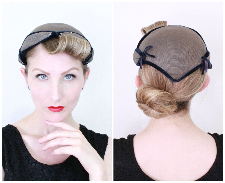 1950s Hat   VINTAGE   50s Hat   Capulet   Grey   Rhinestones   Bows    Velvet   Juliet Cap   DARLING by HighHatCouture on Etsy 0ea241a87d4