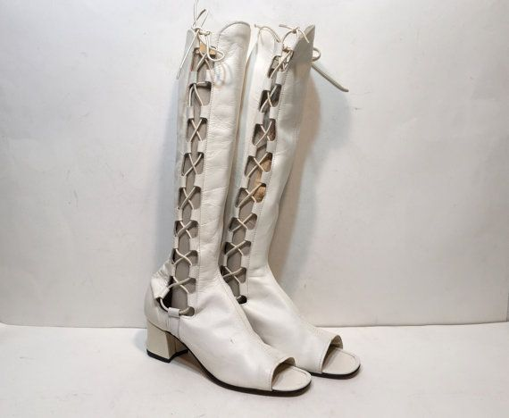 60s lace up boots - white gogo boots