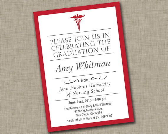 Nursing School Graduation Invitation  Medical Graduation