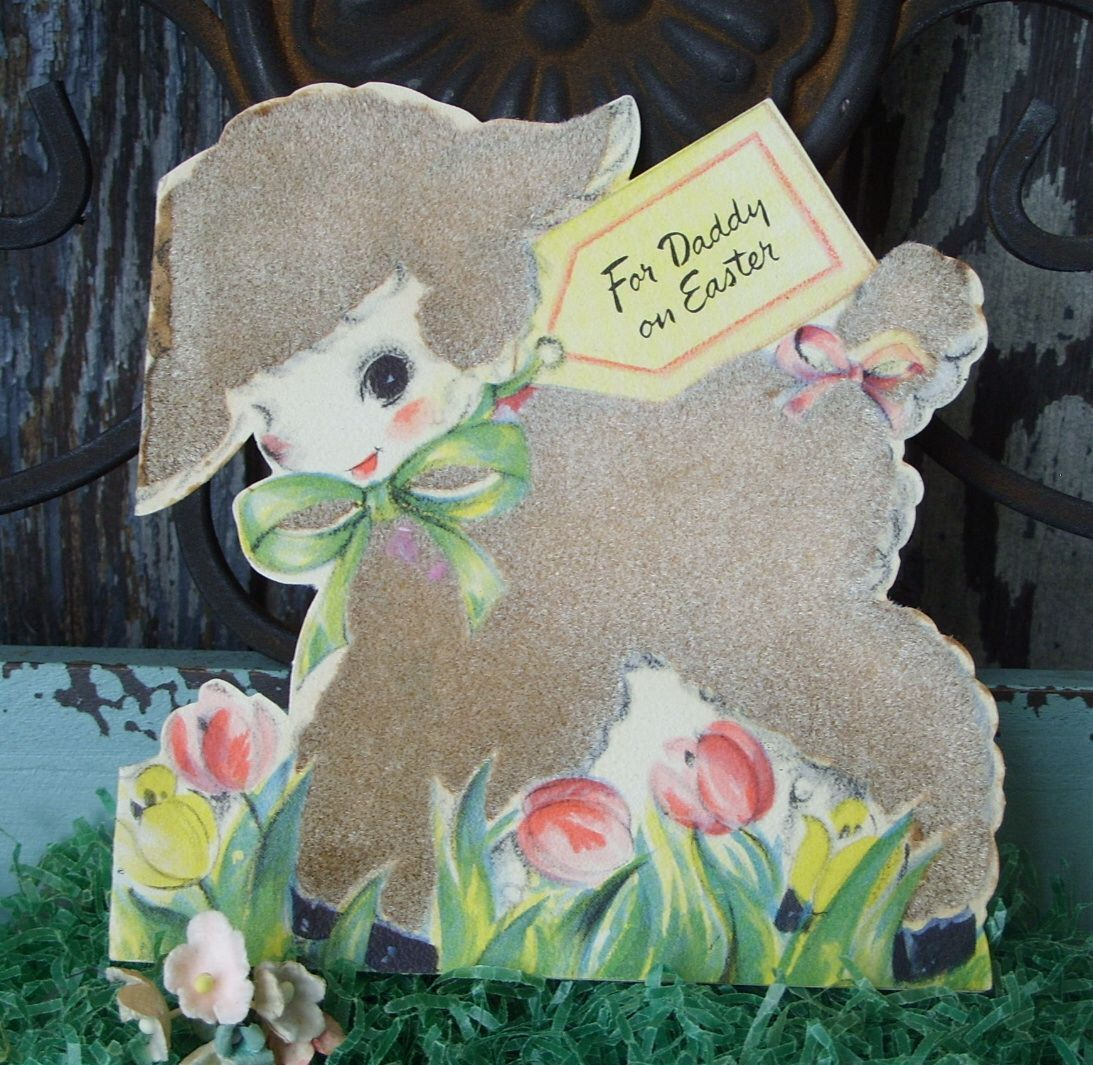 Vintage 1946 flocked lamb easter greeting card hallmark by vintage 1946 flocked lamb easter greeting card hallmark by tinselandtrinkets on etsy https kristyandbryce Choice Image