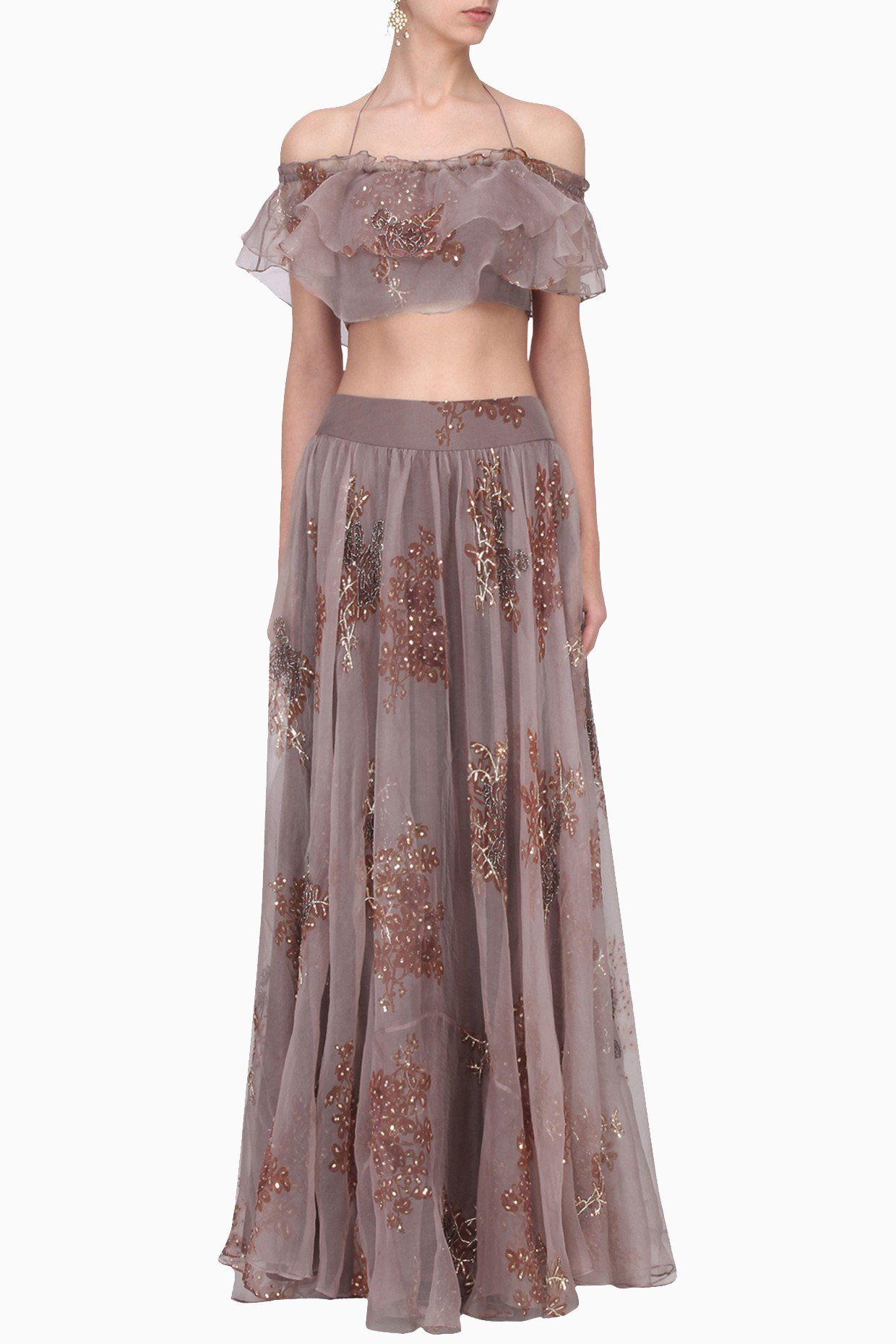 Best dresses to wear to a march wedding  Lavender Frill Off Shoulder Skirt Set  ghaghras  Pinterest