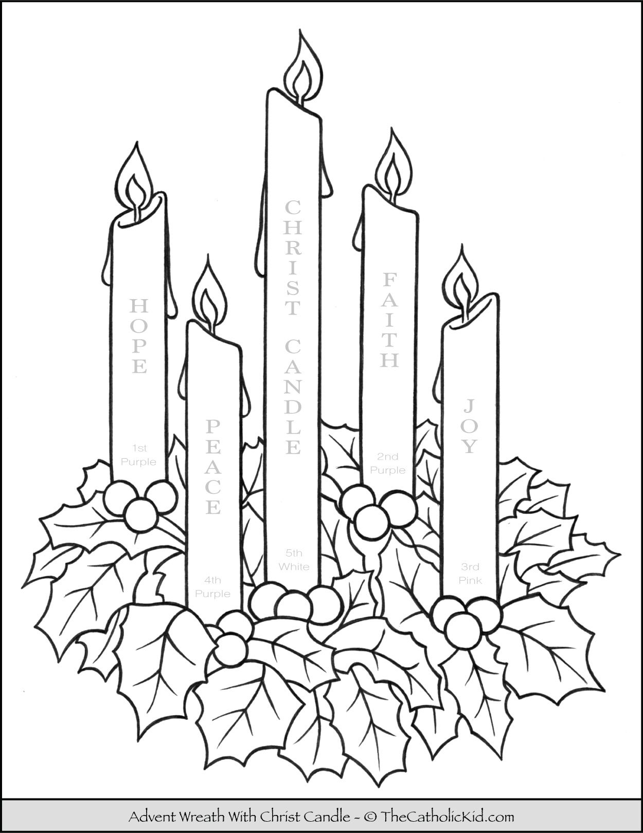 Advent Wreath Coloring Page With Candle Names Meanings Thecatholickid Com Advent Wreath Christmas Coloring Pages Peace Candle