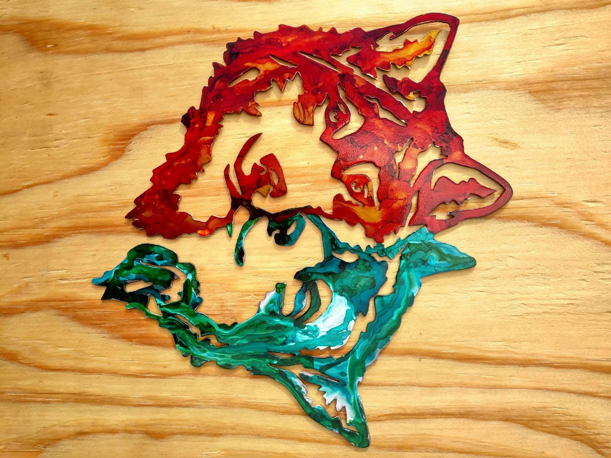 wolves colorful metal wall art indoor / outdoor decor | Metal decor ...