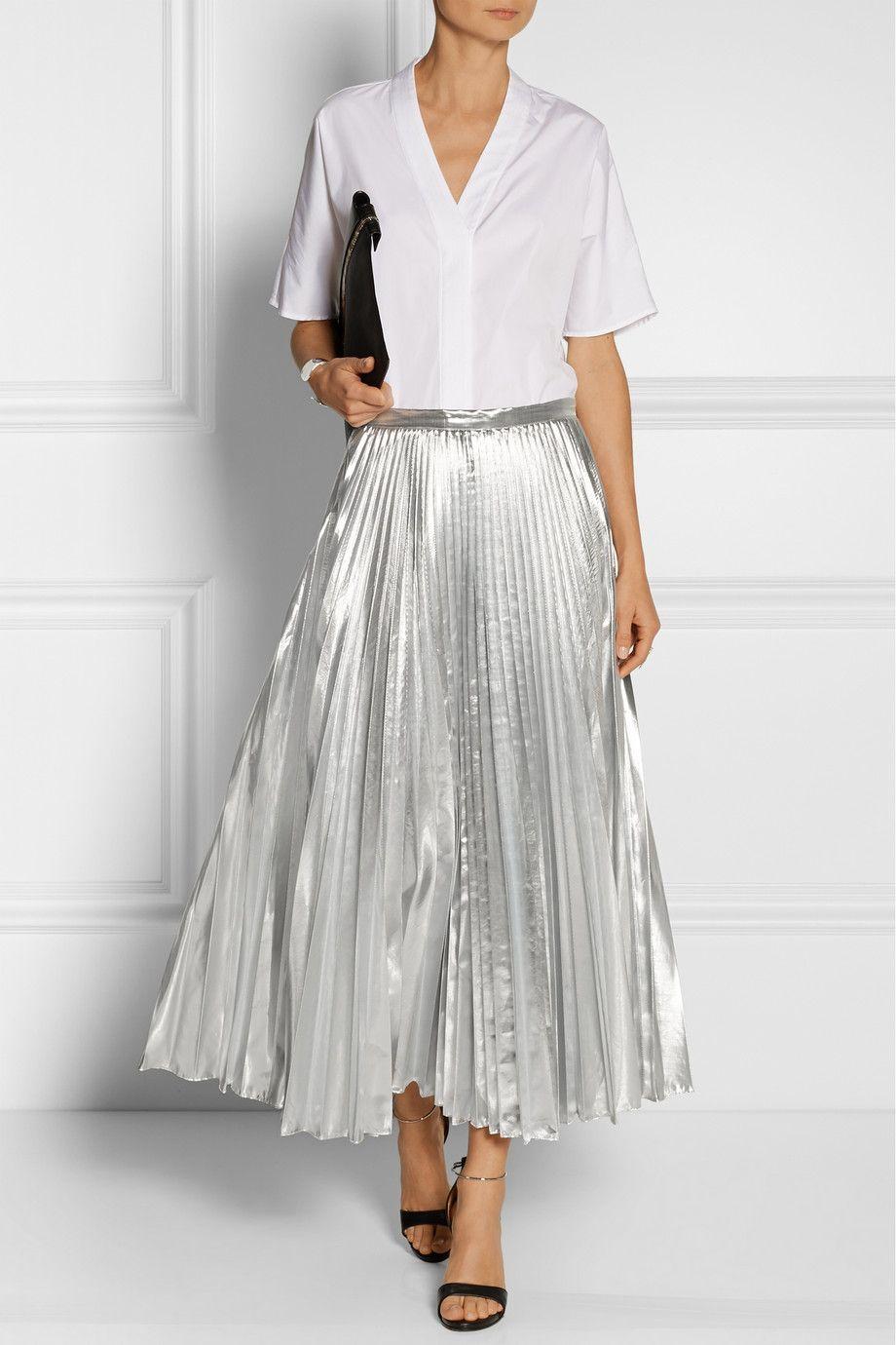 DKNY | Pleated metallic taffeta midi skirt | NET-A-PORTER.COM ...