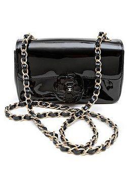 079c1f7eba0f Chanel Rare Camellia Flower Cc Charm Black Patent Leather Mini Flap Cross  Body Bag