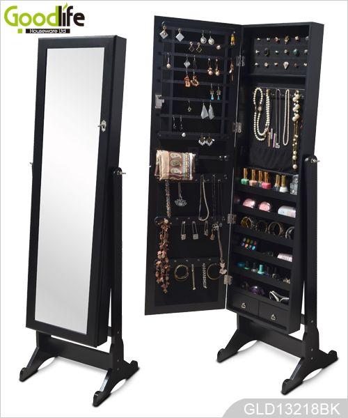 Independiente del gabinete joyero de madera con espejo de for Espejos grandes de pie