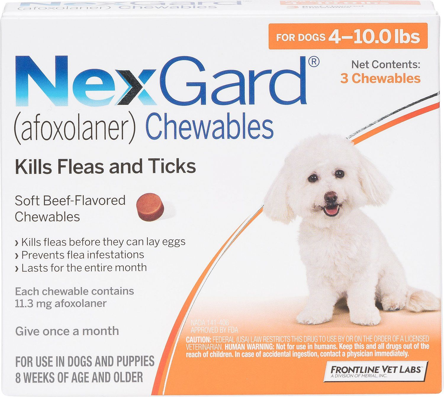 NexGard Chewable Tablets for Dogs, 410 lbs, 3 treatments