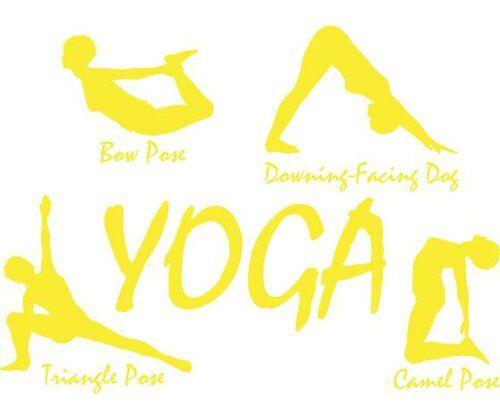 Yoga Pose Wall Sticker Happy Larry Size: 136 cm H x 100 cm W, Colour: Bright yellow