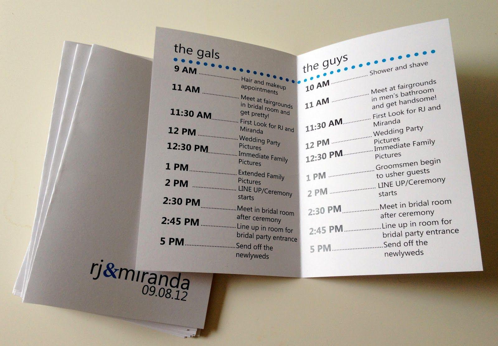 Wedding Weekend Timeline Template