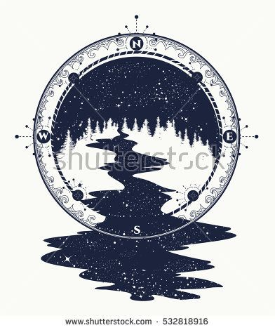 Star River Flows From The Compass Tattoo Art Travel Symbol Tourism