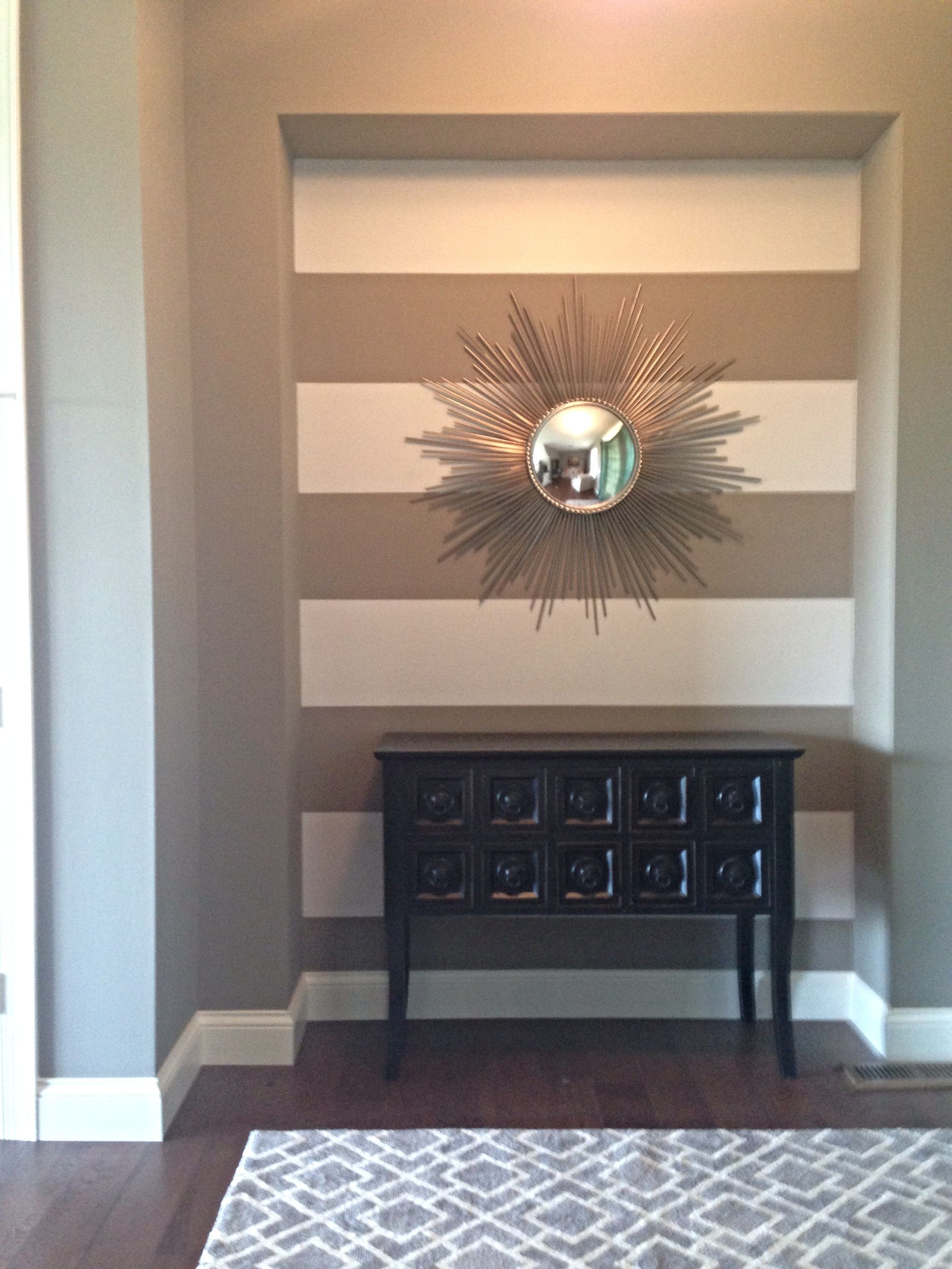Grey and white stripe accent wall Striped accent walls