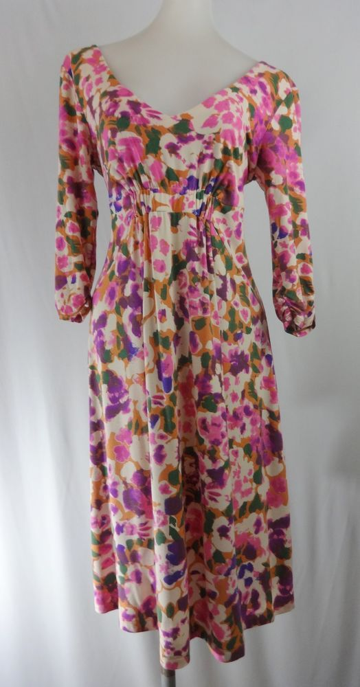 CABI M Pink Floral 3/4 Sleeves V-Neck Stretch Rayon Knee Length Dress #CAbi #TeaDress #Casual