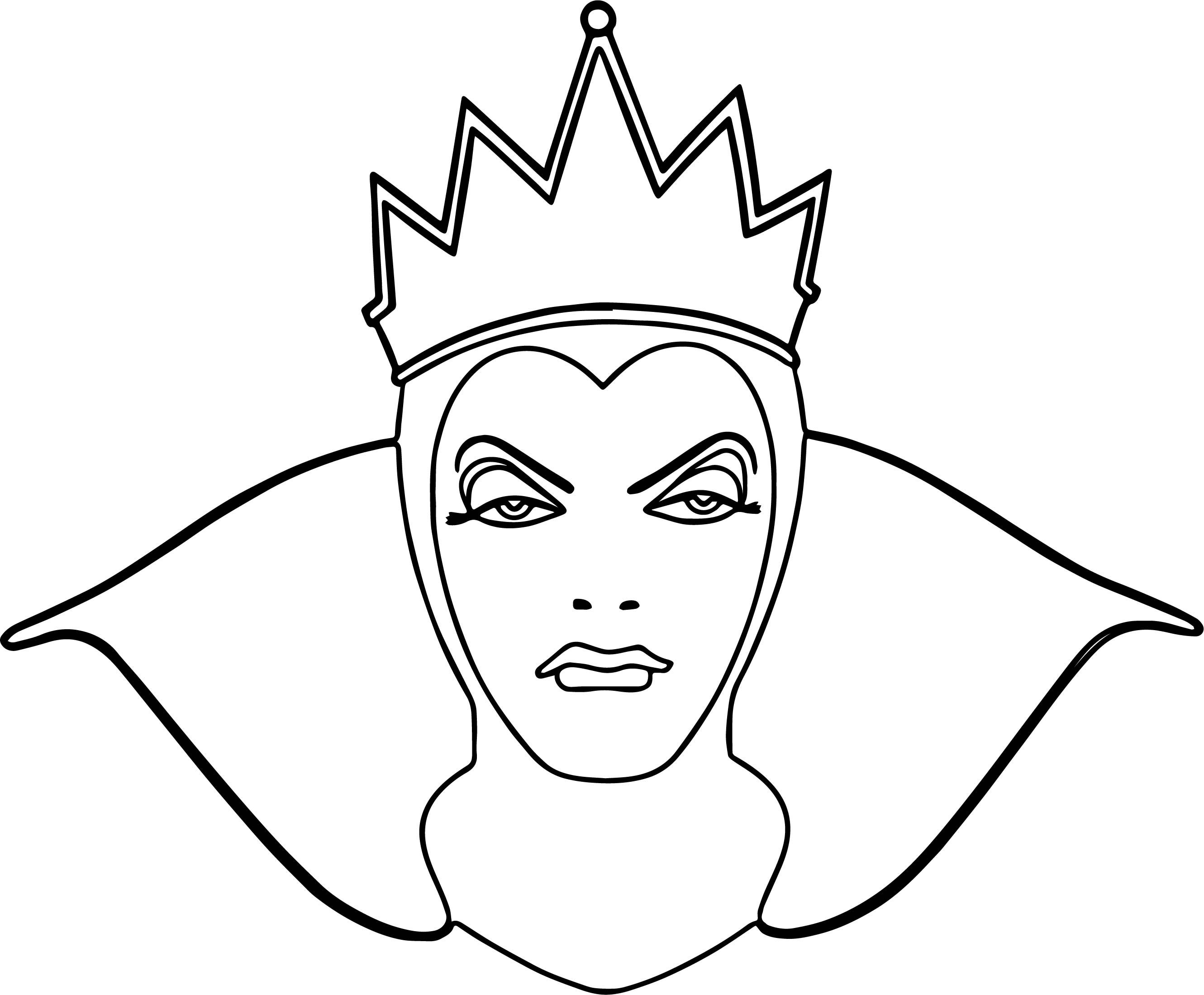 Cool Snow White Evil Queen Witch And Huntsman Front View Face Coloring Page Snow White Evil Queen Snow White Coloring Pages Coloring Pages