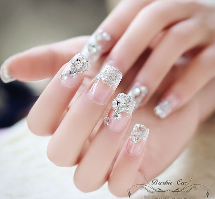 24pcs Bride Wedding 3D False Artificial Fake Nails Tips French Bling ...