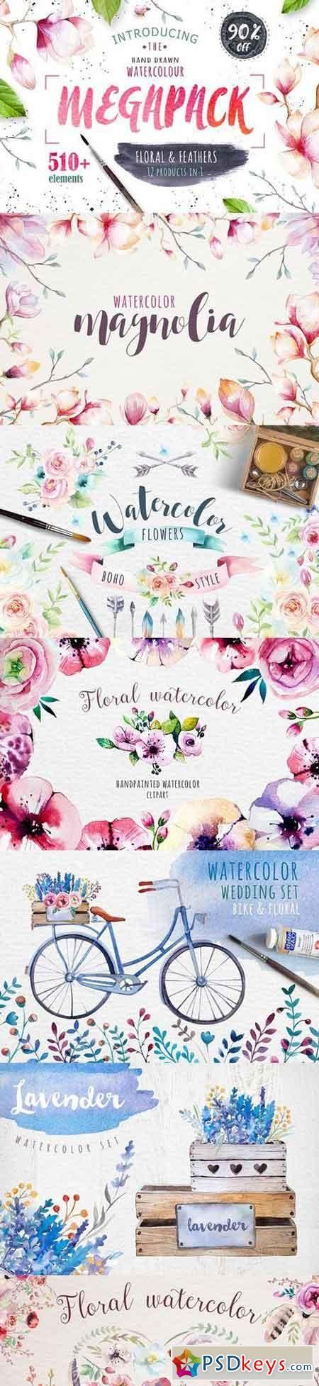 Watercolour MEGAPACK 1021373   PSDkeys   Watercolor, Flowers, Leaves