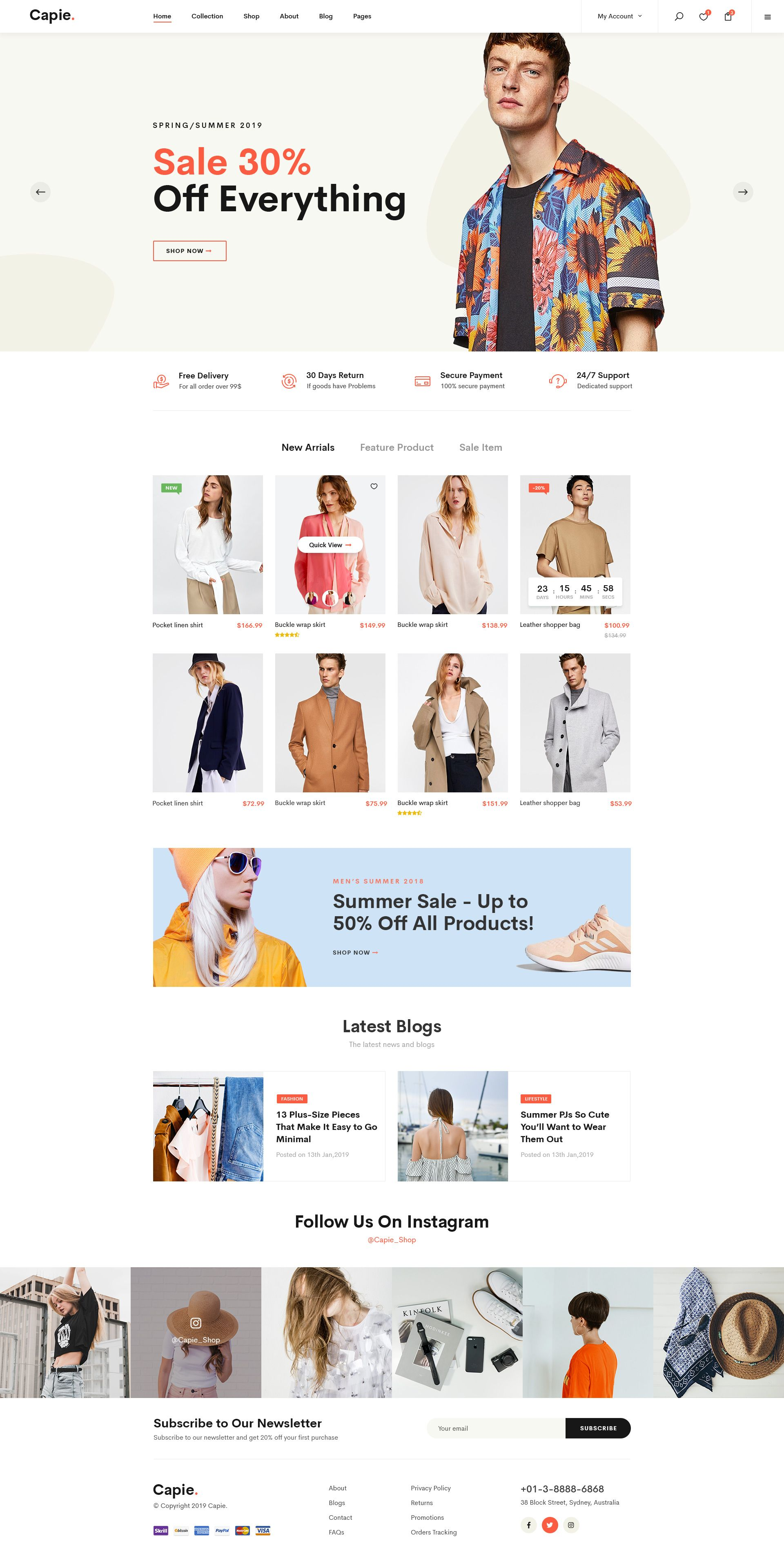 Capie | Minimalist eCommerce PSD Template