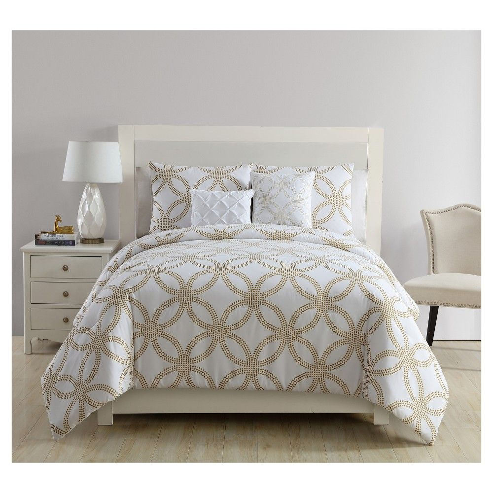 white gold metallic chloe comforter set twin twin xl 4pc vcny products camas colchas. Black Bedroom Furniture Sets. Home Design Ideas