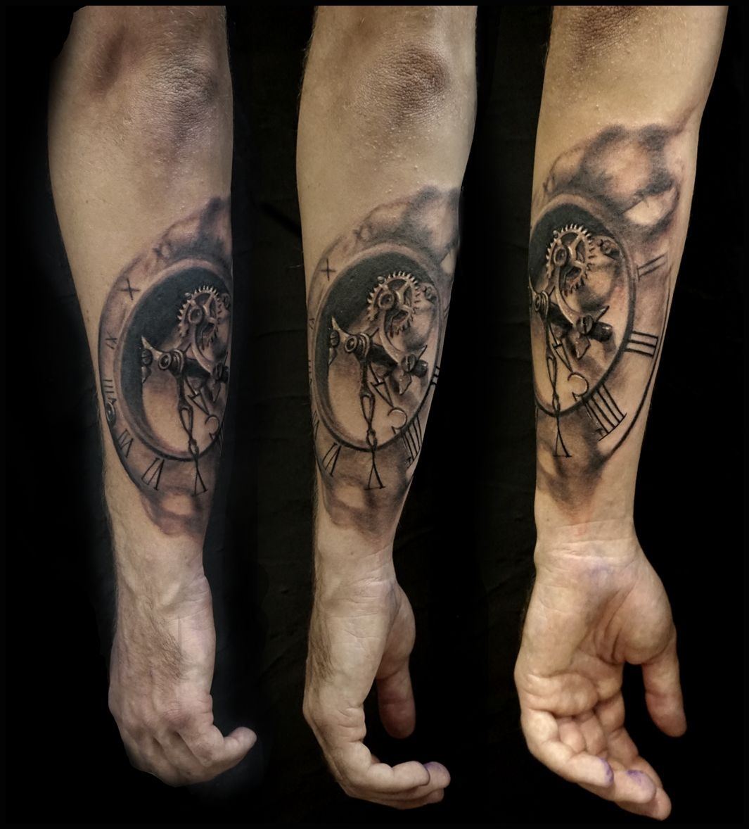 horloge r aliste aquarelle tattoo tatouage tattoo par teddy blackblood tattoo la garde. Black Bedroom Furniture Sets. Home Design Ideas
