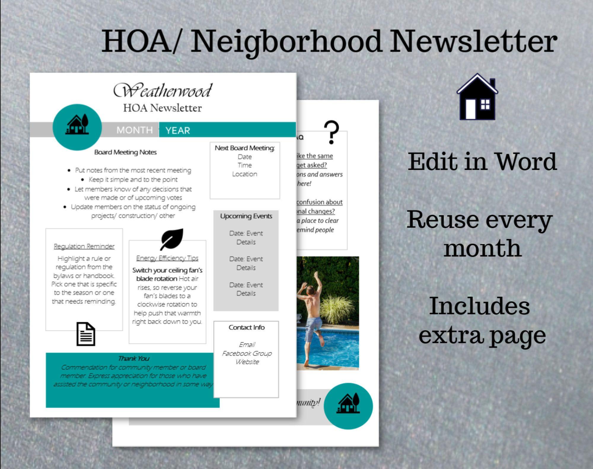 Hoa Newsletter Neighborhood Newsletter Editable Newsletter Etsy In 2021 Newsletter Templates Editable Newsletter Templates Editable Newsletter News letter templates in word