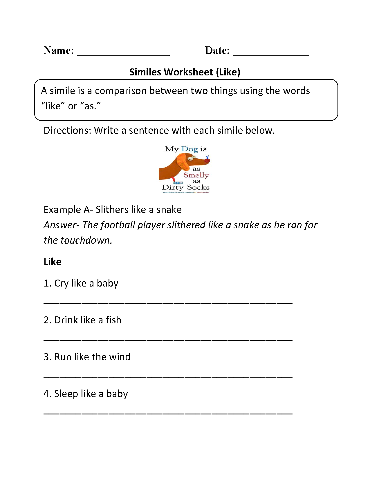 Like Similes Worksheet
