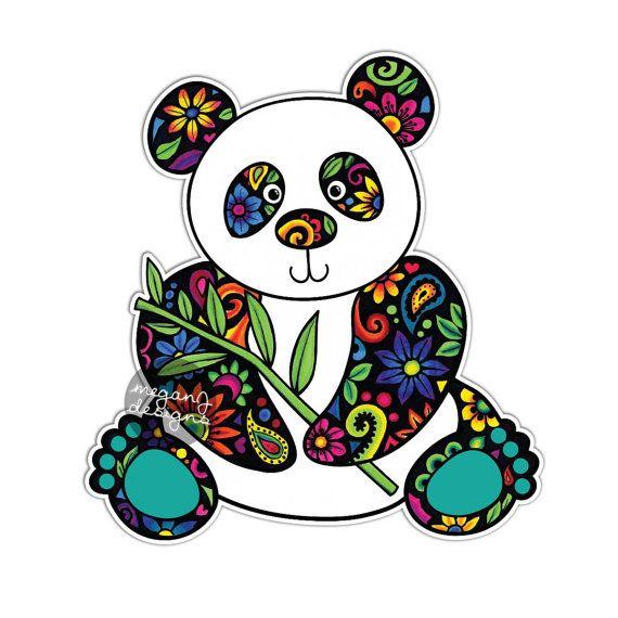 panda car decal colorful flowers design bumper sticker laptop