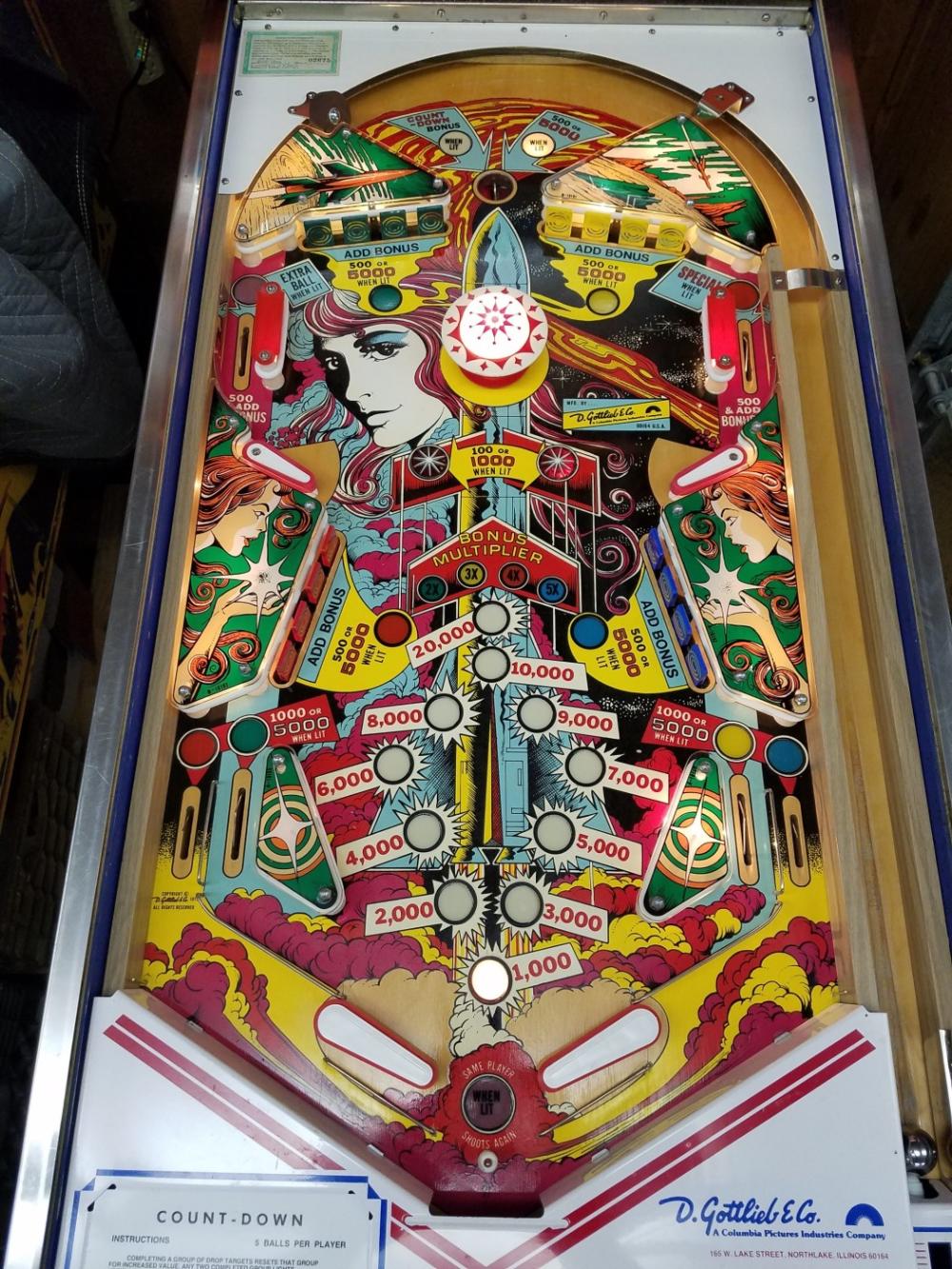 1979 Gottlieb Count Down Pinball Machine For Sale Pinside Market In 2020 Pinball Machine Pinball Art Pinball