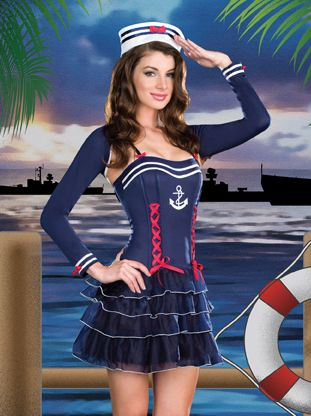 947efa6347b3b Pinup Girls Costumes - Surf City Sweetie Sailor Girl Costume (Incl. Dress