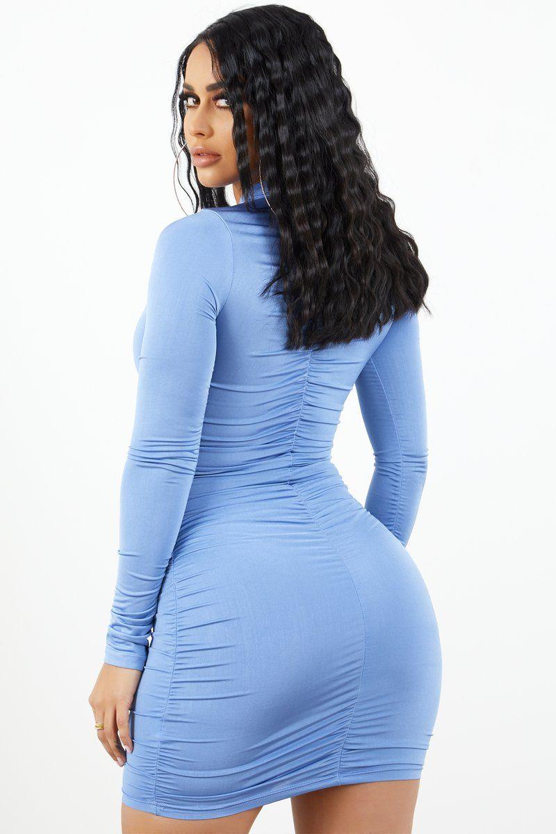 Ruched Long Sleeve Dress Baby Blue Dresses Long Sleeve Dress Tight Dresses [ 1200 x 800 Pixel ]
