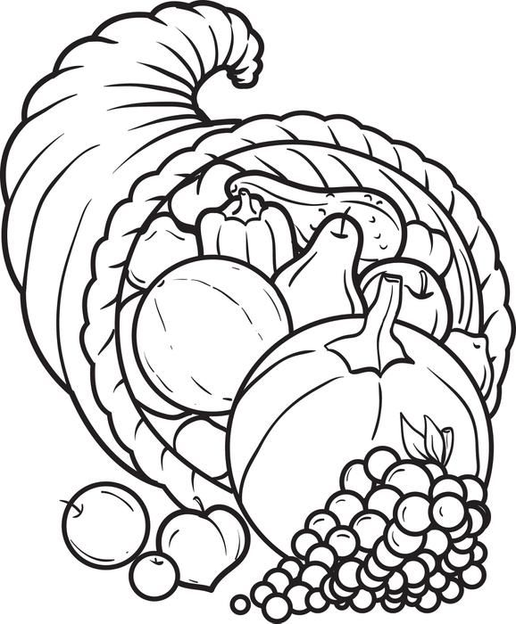 Printable Cornucopia Coloring Page For Kids Thanksgiving