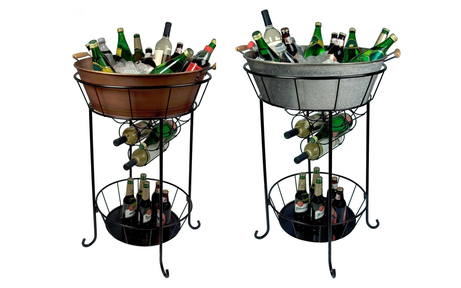 New Oval Party Station Steel Tub Ice Beverage Bucket Stand Wine