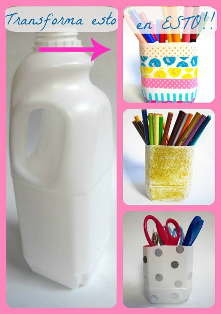 Portalapices Hechos Con Tarros Plasticos Con Imagenes Cosas