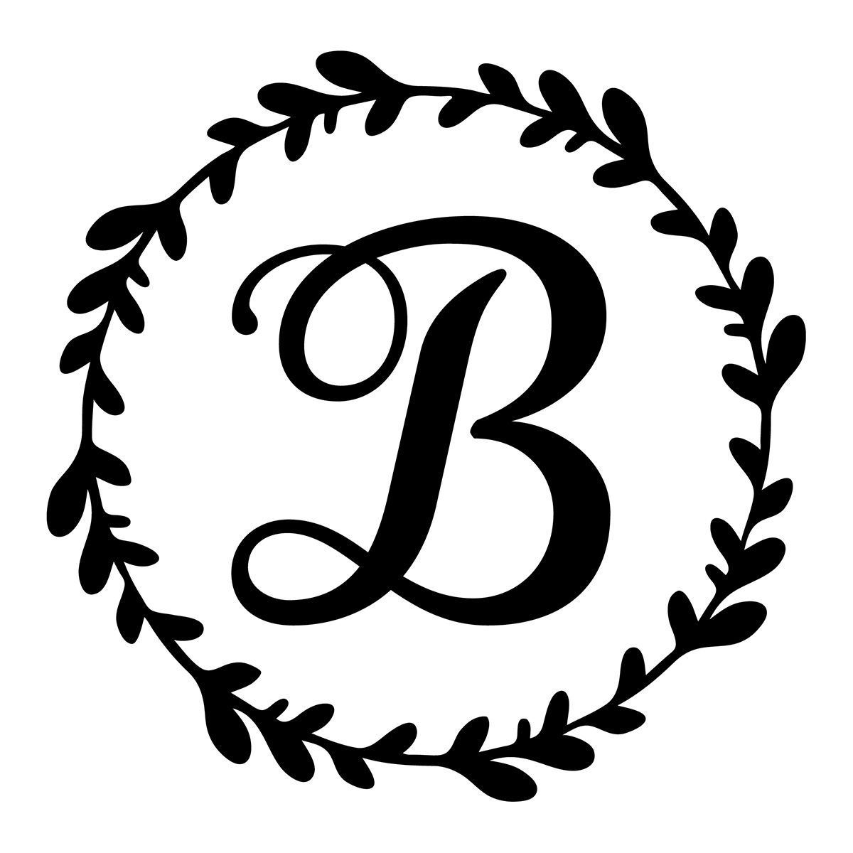 Monogram Initial Vine Wreath Vinyl Decal Rkcreative Llc