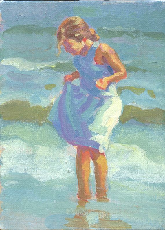 Beach Girl 6 X 8 Original Acrylic Painting On Canvas Board Of Girl