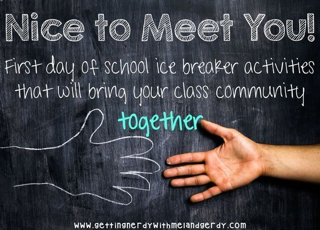 Blog post about first day of school ice breaker activites
