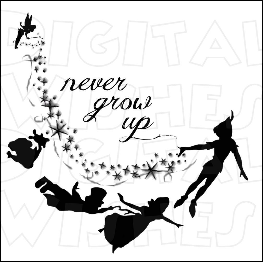 Peter Pan Never grow up Silhouette Digital Iron on