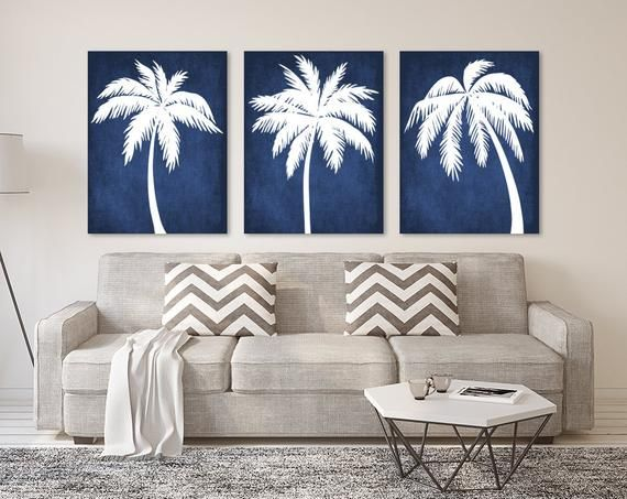 PALM TREE Wall Art, Palm Tree CANVAS or Print, Navy Tropical Bedroom