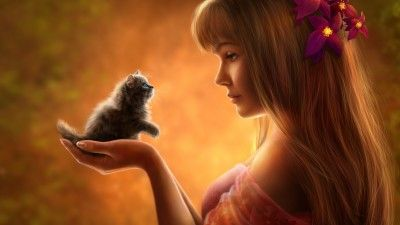 Fantasy Girl Cute Kitten Hd Kitten Drawing Cute Images Hd Cute Girl Wallpaper