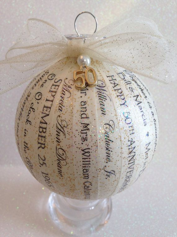 50th anniversary gift for parents friends personalized ornament