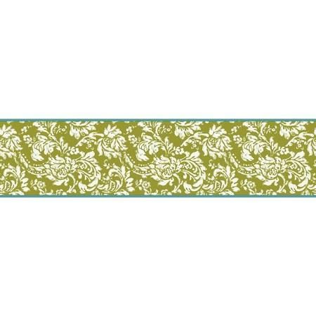 green wall paper border Google Search Damask wallpaper